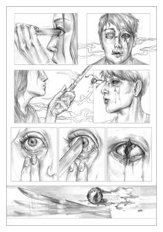 """PA Page Five. Graphite, 8 x 11"""", 2014."""