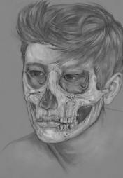"""Bones. Graphite , 11x 14"""", 2015."""