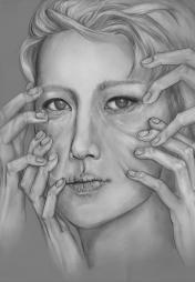 """Hands. Graphite , 11x 14"""", 2015."""