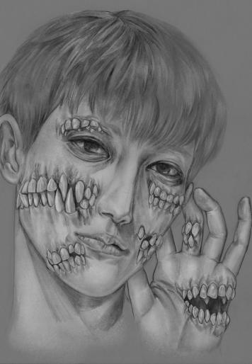 "Teeth. Graphite , 11x 14"", 2015."