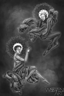 Mars and Saturn. Graphite and Digital, 2018.