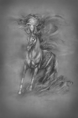 White Horse (Variant). Graphite and Digital, 2018.